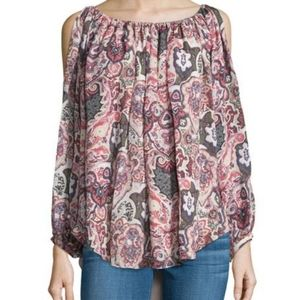 HAUTE HIPPIE paisley cold shoulder silk blouse